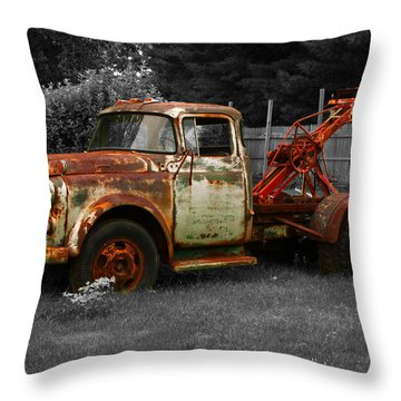 Rusty Tow Truck Throw Pillow