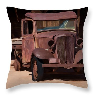 Rusty Truck 04 Throw Pillow by Wally Hampton