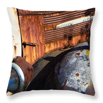 Rusty Truck Detail Throw Pillow by Garry Gay