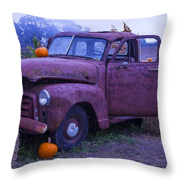 Rusty Truck With Pumpkins Throw Pillow by Garry Gay