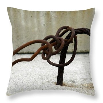 Throw Pillow featuring the photograph Rusty Twisted Metal I by Lilliana Mendez