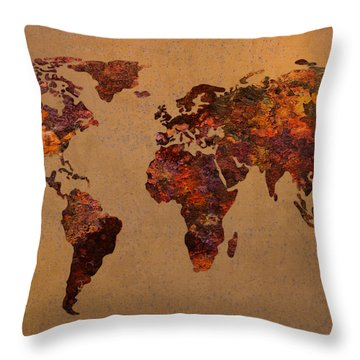 Rusty Vintage World Map On Old Metal Sheet Wall Throw Pillow