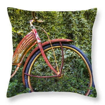 Rusty Wheel Throw Pillow by Debra and Dave Vanderlaan