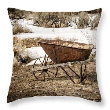 Rusty Wheelbarrow Throw Pillow