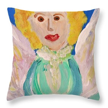 Throw Pillow featuring the painting Ruth E. Angel by Mary Carol Williams