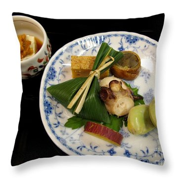Throw Pillow featuring the photograph Ryokan Dinner by Carol Sweetwood
