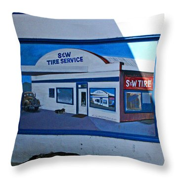 S And W Tire Service Mural Throw Pillow