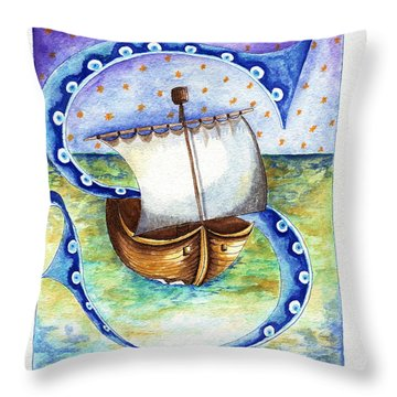 S Is For Sailing Throw Pillow