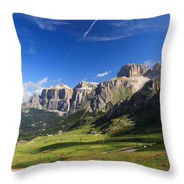 Saas Pordoi And Fassa Valley Throw Pillow