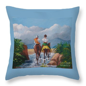 Sabanero And Wife Crossing A River Throw Pillow