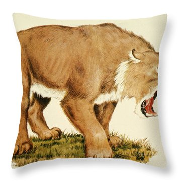 Sabretooth Cat Throw Pillow by Tom McHugh