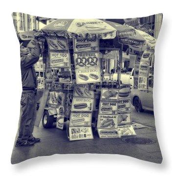 Throw Pillow Vendors : Sabrett Vendor New York City Photograph by Dan Sproul