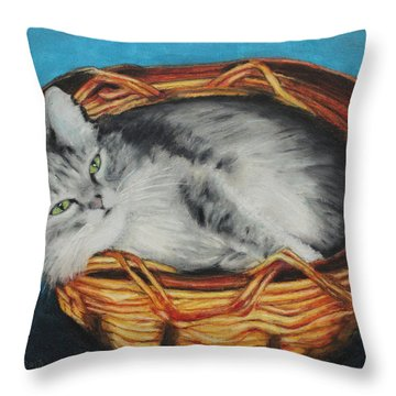 Sabrina In Her Basket Throw Pillow by Jeanne Fischer