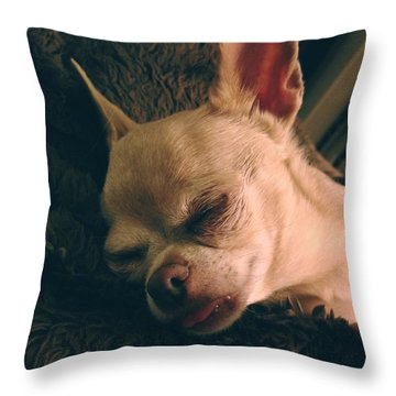 Sacked Out Throw Pillow by Laurie Search