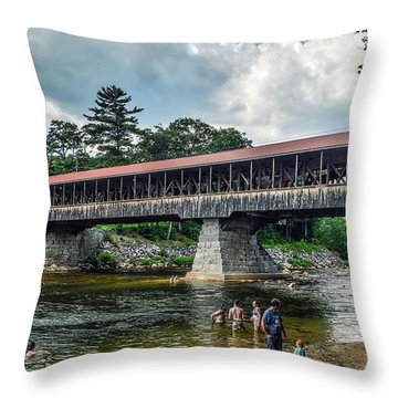 Throw Pillow featuring the photograph Saco River Covered Bridge  by Debbie Green