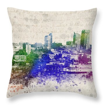 Sacramento City Skyline Throw Pillow by Aged Pixel