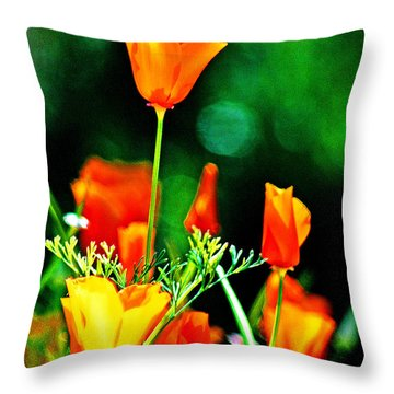 Sacramento Delta Poppies Throw Pillow
