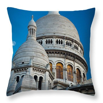Sacre-coeur And Moon Throw Pillow by Inge Johnsson