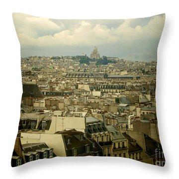 Sacre-coeur And Roofs Of Paris. France.europe. Throw Pillow by Bernard Jaubert