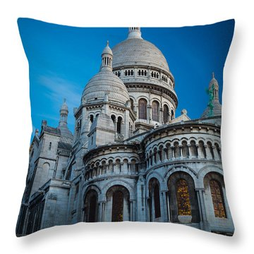 Sacre-coeur At Night Throw Pillow by Inge Johnsson
