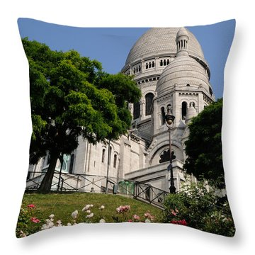 Sacre Coeur Flowers Throw Pillow by Jeremy Voisey