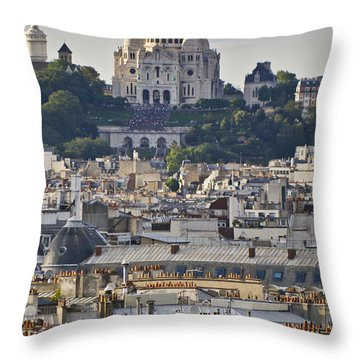 Sacre Coeur Over Rooftops Throw Pillow by Gary Eason