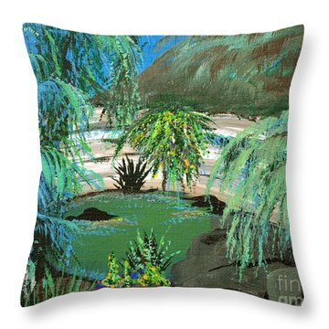 Throw Pillow featuring the painting Sacred Cenote At Chichen Itza by Alys Caviness-Gober