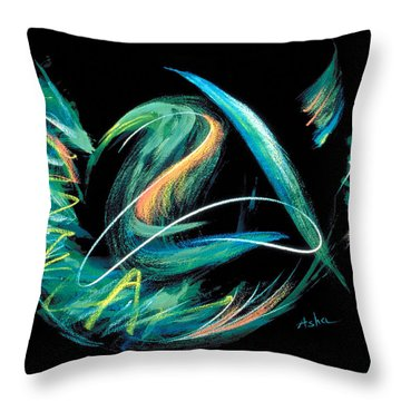 Throw Pillow featuring the painting Sacred Feather Dance by Asha Carolyn Young