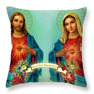 Sacred Heart Immaculate Heart  Throw Pillow