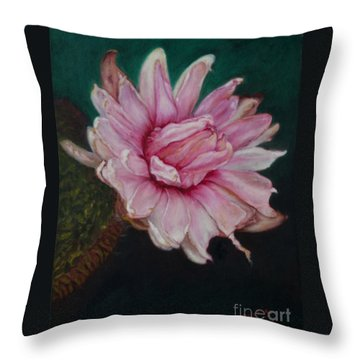 Throw Pillow featuring the painting Sacred Red Lotus by Mukta Gupta