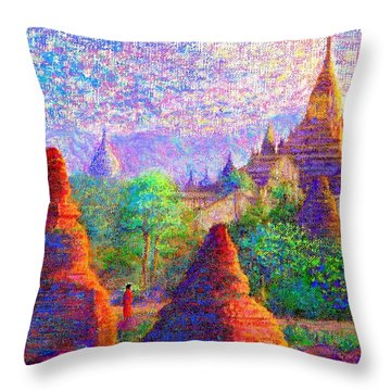 Throw Pillow featuring the painting Bagan, Burma, Sacred Spires by Jane Small