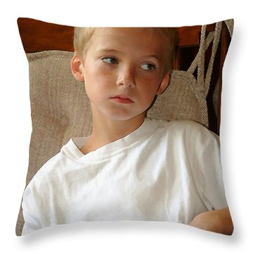 Sad Boy In Rocker Throw Pillow
