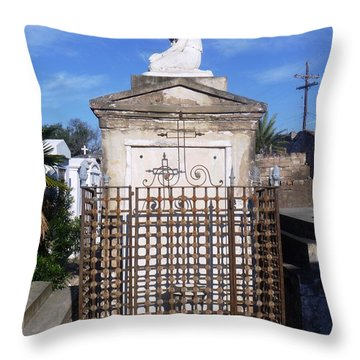 Throw Pillow featuring the photograph Saddest Statue Tomb by Alys Caviness-Gober