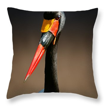 Saddle-billed Stork Portrait Throw Pillow by Johan Swanepoel