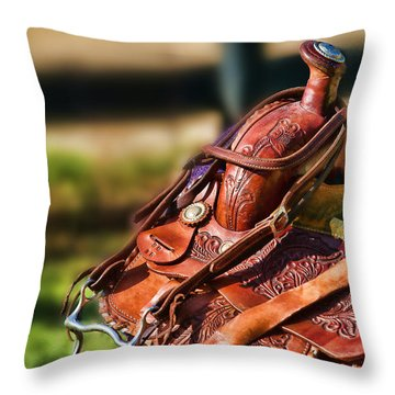 Throw Pillow featuring the photograph Saddle In Waiting Western Saddle Horse by Eleanor Abramson