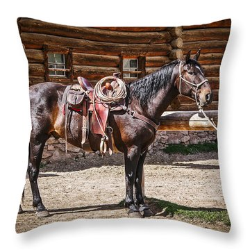 Saddled And Waiting Throw Pillow