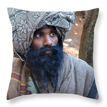 Sadhu At Amarkantak India Throw Pillow