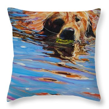 Sadie Has A Ball Throw Pillow by Molly Poole