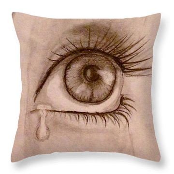 Sadness In The Eye Throw Pillow
