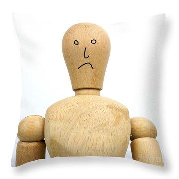 Sadness Wooden Figurine Throw Pillow by Bernard Jaubert