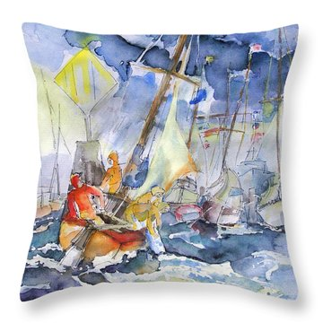 Safe And Sound Back At The Port Throw Pillow by Barbara Pommerenke