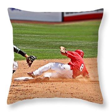 Safe At Second Throw Pillow