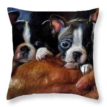 Safe In The Arms Of Love - Puppy Art Throw Pillow by Jordan Blackstone