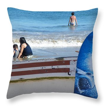 Throw Pillow featuring the photograph Safe To Go In The Water by Brian Boyle
