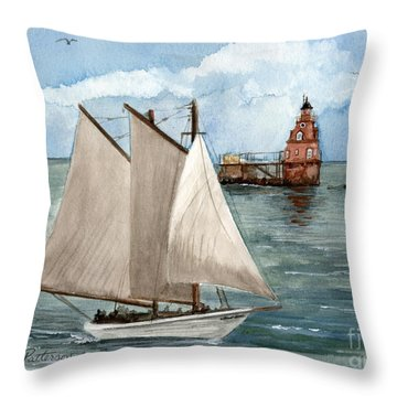 Throw Pillow featuring the painting Safely Past The Shoal  by Nancy Patterson