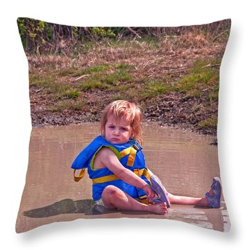 Safety Is Important - Toddler In Mudpuddle Art Prints Throw Pillow by Valerie Garner