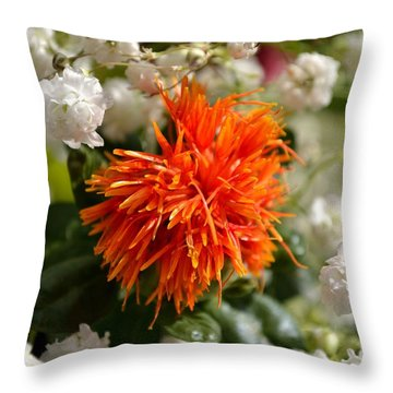 Safflower Amongst The Gypsophilia Throw Pillow