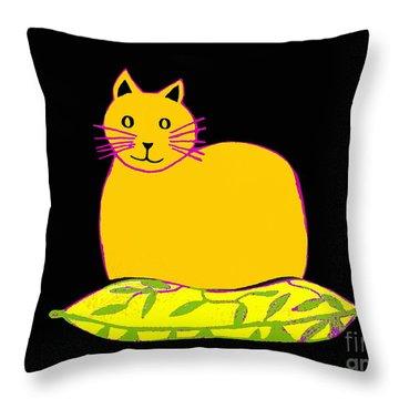 Saffron Cat On Black Throw Pillow