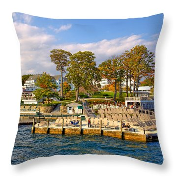 Sagamore Hotel - Lake George Throw Pillow by David Patterson