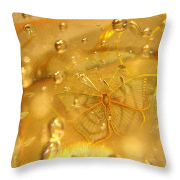 Sage Butterfly With Bubbles Throw Pillow